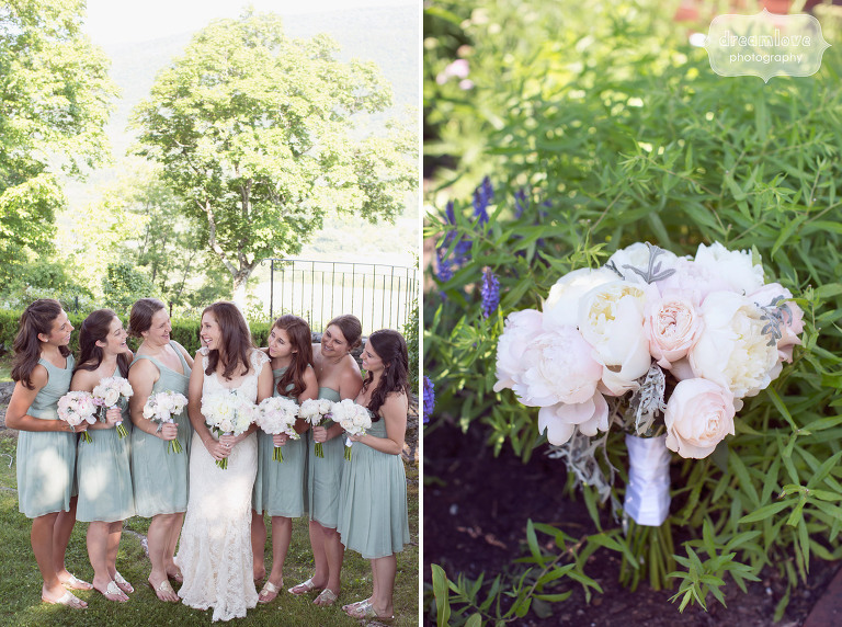 Bridesmaids in sea green dresses at a summer wedding at the Hildene Estate venue in Manchester, VT.