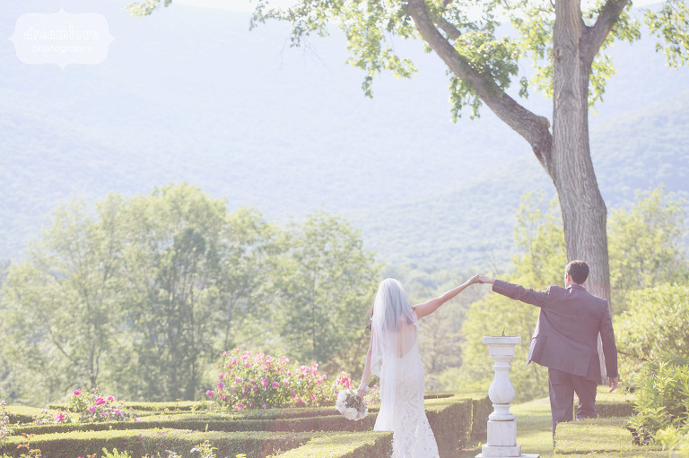 Ethereal wedding photo of bride and groom in the garden at the Hildene Estate in Manchester, VT.