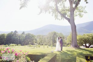 Fine art wedding photography of bride and groom at the scenic Hildene Estate venue in Manchester, VT.