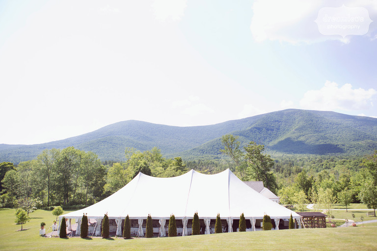 View of the reception tent set up at the Hildene Estate wedding venue in Manchester, VT.