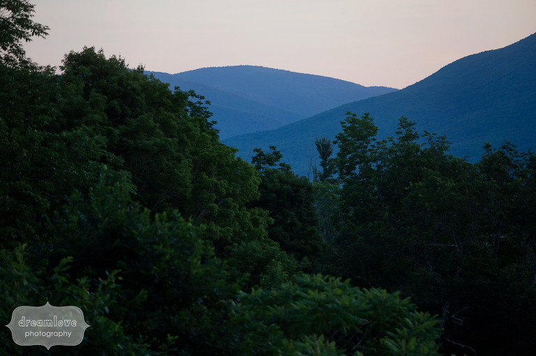 View of the green mountains from the Hildene Linoln Family Home wedding venue in VT.