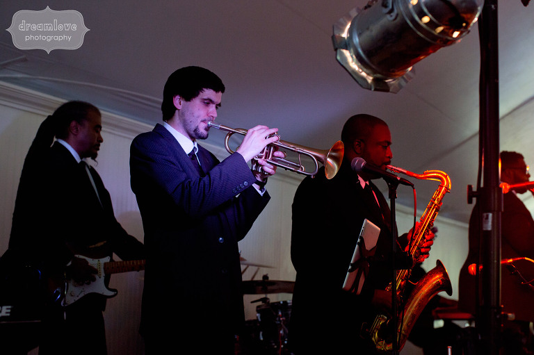 The band K2 performs at the Hildene Estate wedding venue in Manchester, VT.