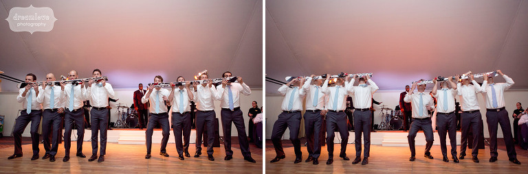 Groomsmen taking a ski shot whiskey drink during the toasts at the Hildene in VT.