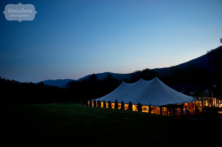 Twilight view of the tent during dancing at the Hildene in Manchester, VT.