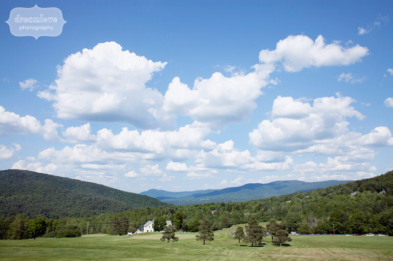 View of the field during an outdoor wedding at the Sugarbush Resort in VT.