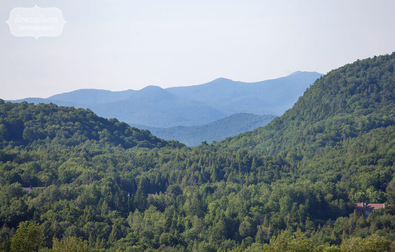 View of the green mountains from the outdoor wedding venue at Sugarbush, VT.