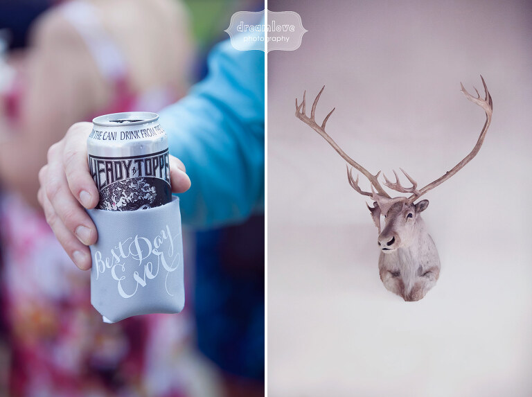 Artistic wedding photography of a wedding with Heady Topper beer with Best Day Ever koozies at Sugarbush, VT.