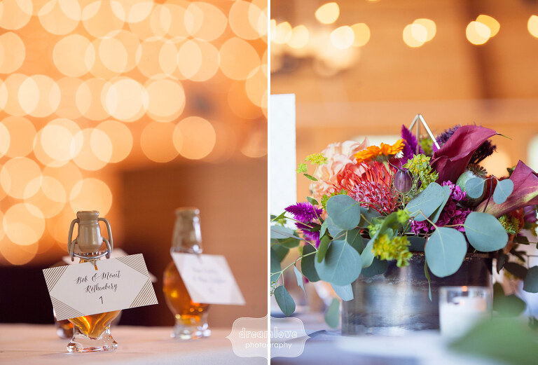 Love these rustic protea wedding bouquets and twinkle lights at the Sugarbush Resort wedding in VT.