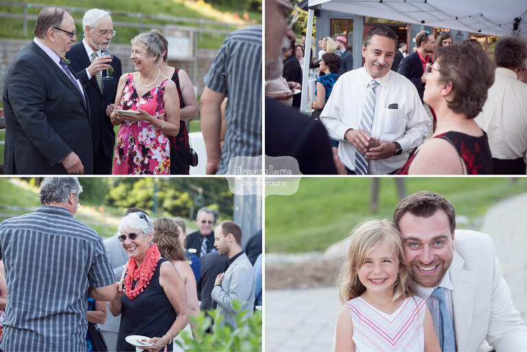 Wedding guests mingle during cocktail hour at the Sugarbush, VT.