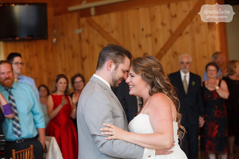 Documentary photo of the first dance during this Sugarbush VT wedding.