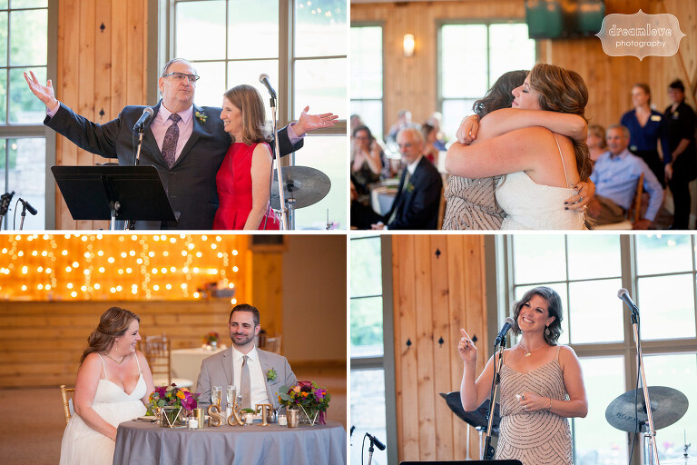 Documentary photography of speeches during wedding reception at Sugarbush, VT.