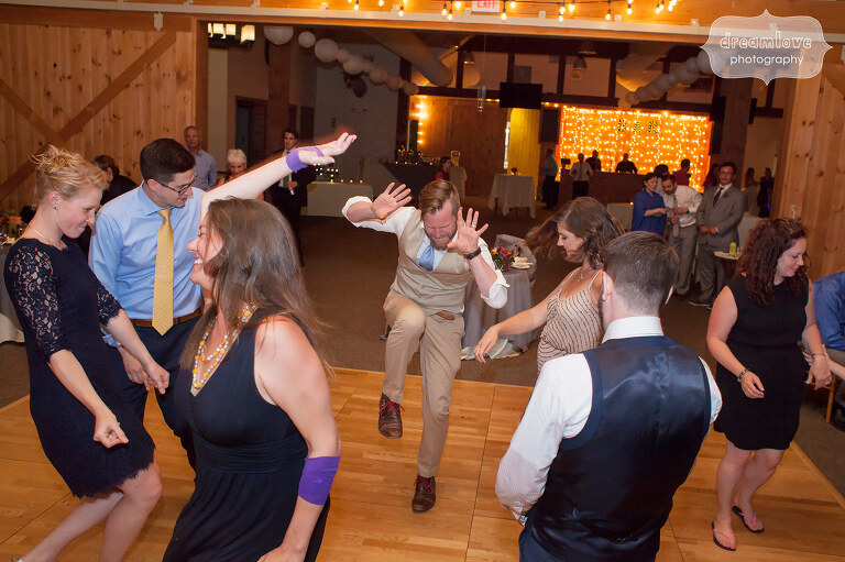 Funny photo of guests doing wild dancing at the Sugarbush Resort in VT.