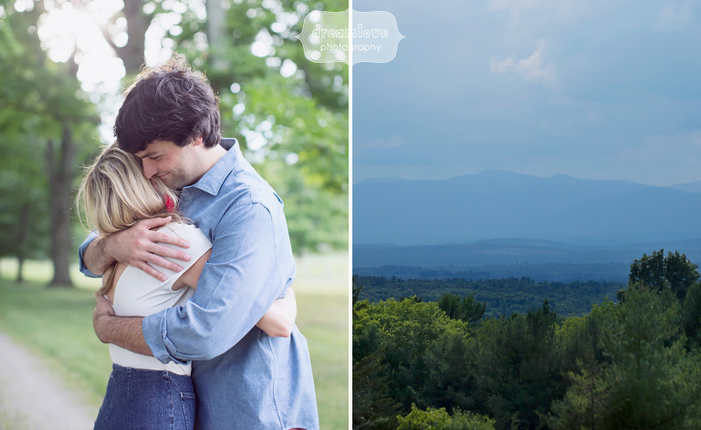 Engagement photo of the groom hugging his bride to be with the Hudson Valley mountains behind.