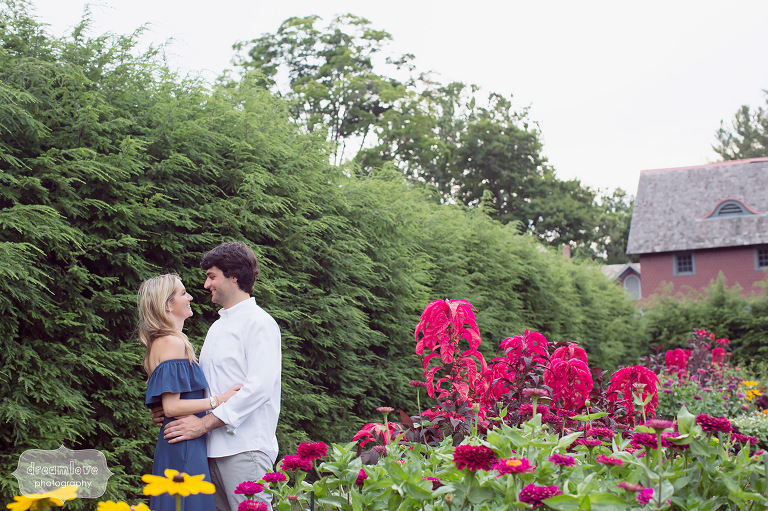 Hudson Valley engagement photos in the garden at FDR Park in Hyde Park, NY.