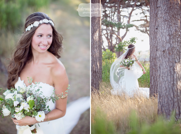 Ethereal wedding photography of bride in the woods at Odiorne State Park in NH.