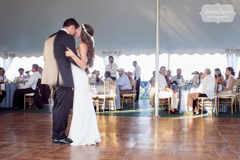 First dance in the wedding reception tent at Seacoast Science Center in NH.