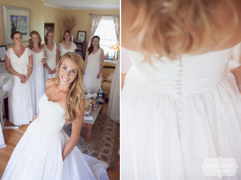Great portraits of the bride with her bridesmaids at the 1824 House in Vermont.