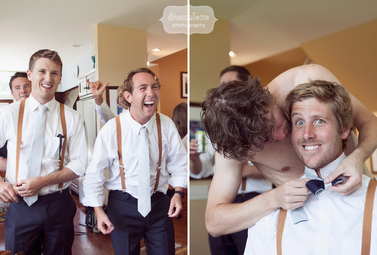 Funny photo of the groom getting ready at the 1824 House in VT.
