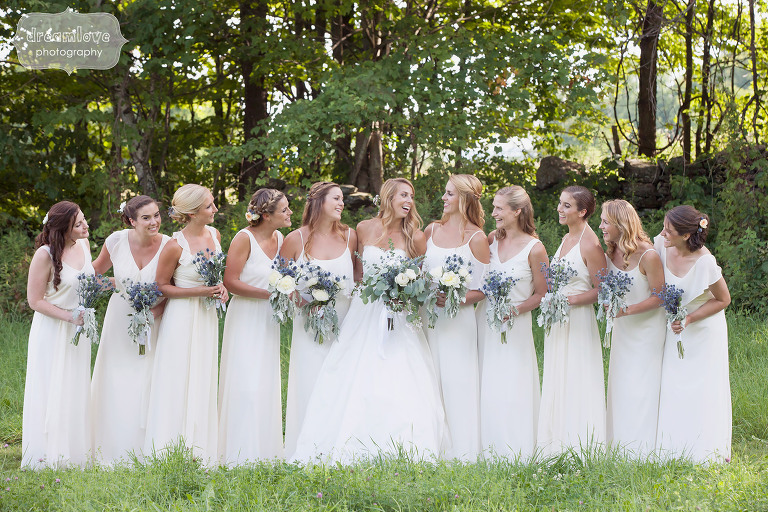 Bridesmaids all in white dresses at the 1824 House in Waitsfield, VT.