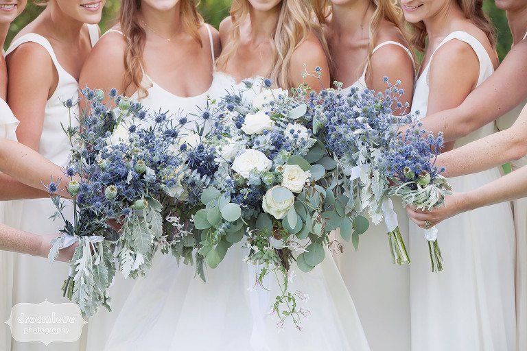 Gorgeous rustic wedding bouquets with purple and white flowers by Jayson Munn at the 1824 House in VT.