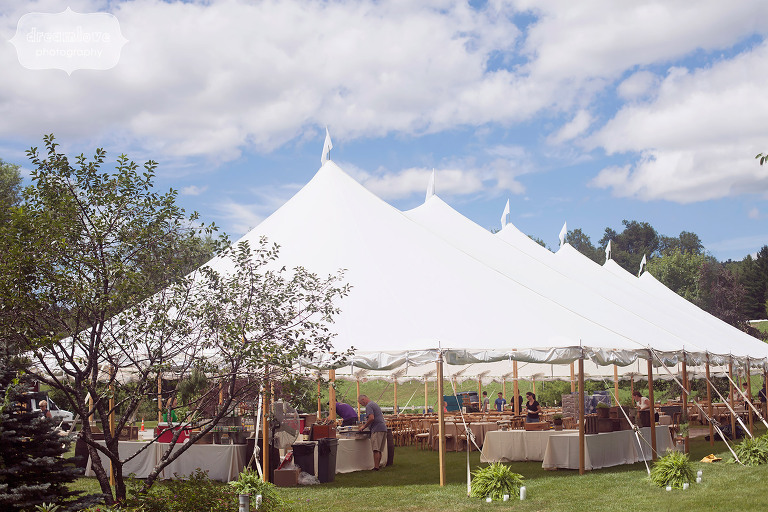 View of the sailcloth reception tent for a large 250 person wedding at the 1824 House in VT.