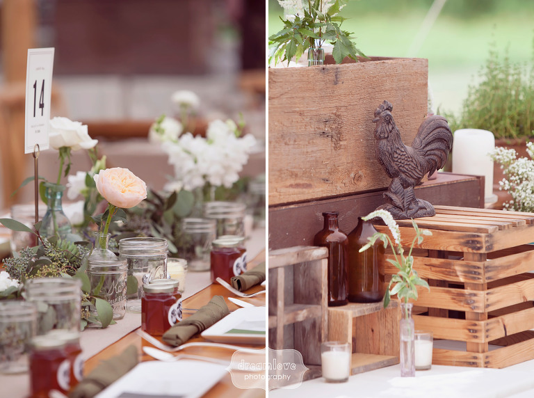 Rustic wedding ideas for tent decoration at the 1824 House in VT with wooden crates and iron sculptures.