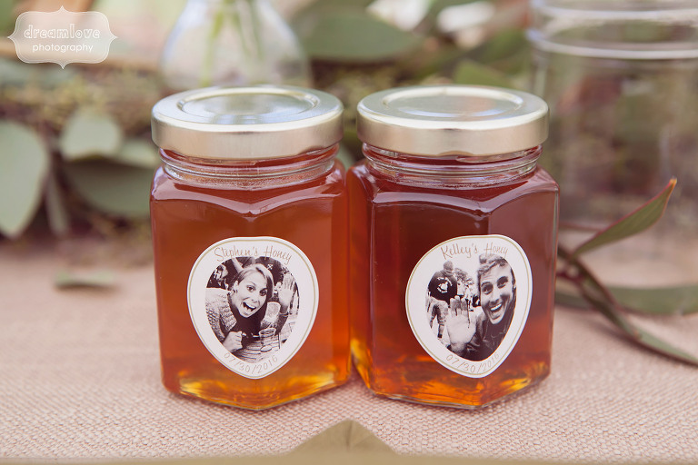 Personalized jars of honey for wedding guest favors at the 1824 House in VT.