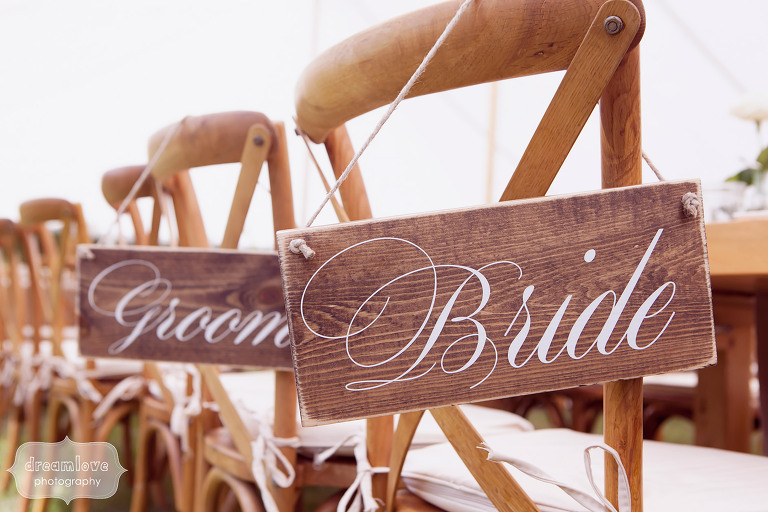 Calligraphy wooden wedding signs to hang on the back of the bride and groom chairs at reception in 1824 House.