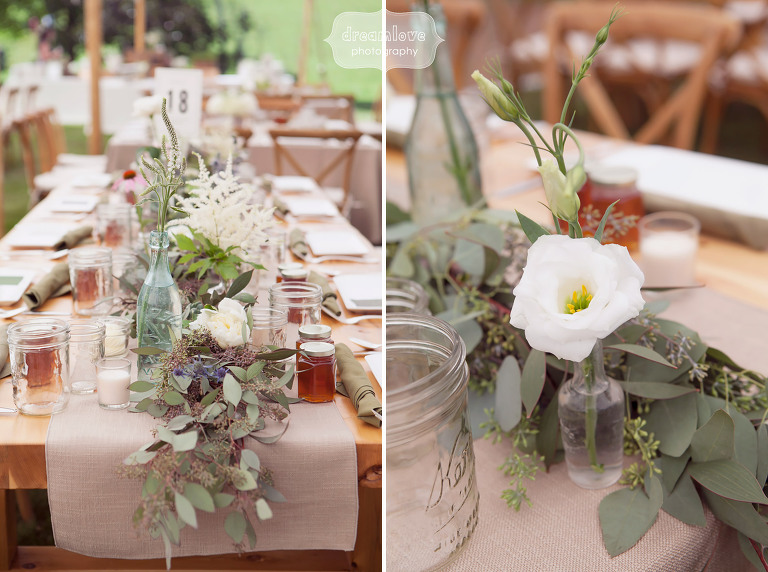 Linen table runners for a rustic wedding at the 1824 House in VT.