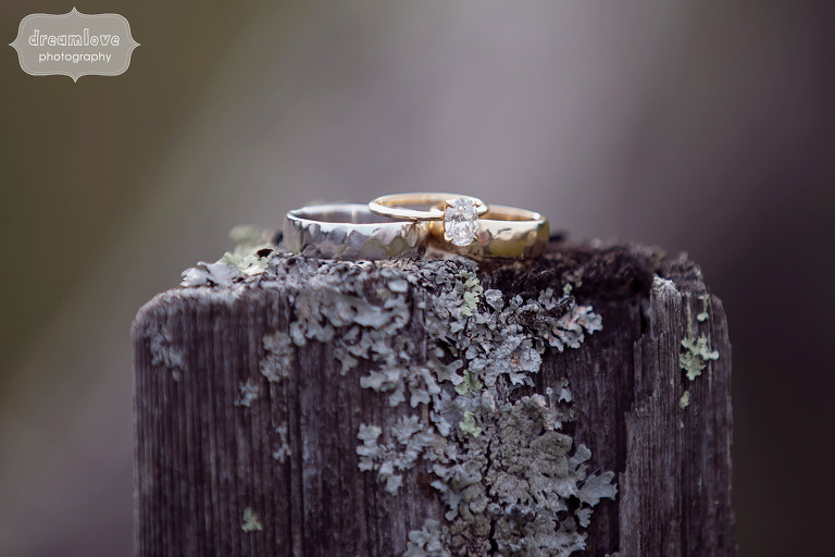 Wedding rings photo with lichen at the 1824 House in VT.