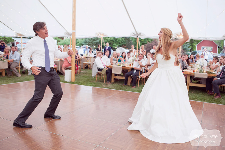 Funny photo of the father daughter dance during this tented wedding reception at the 1824 House in VT.