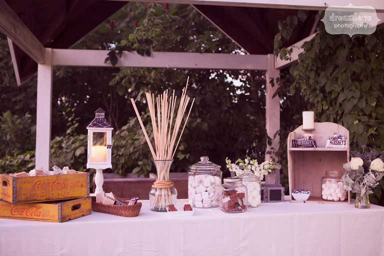 Rustic wedding with smores table decor ideas at this VT wedding.