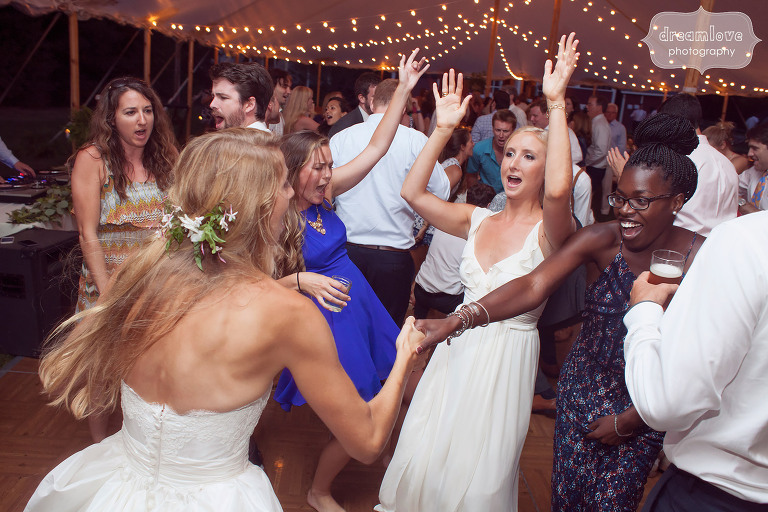 Photo of guests dancing at the 1824 House in VT.