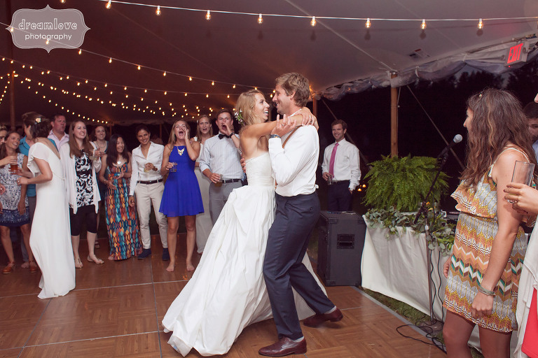 Bride and groom dancing together at the 1824 House in VT.