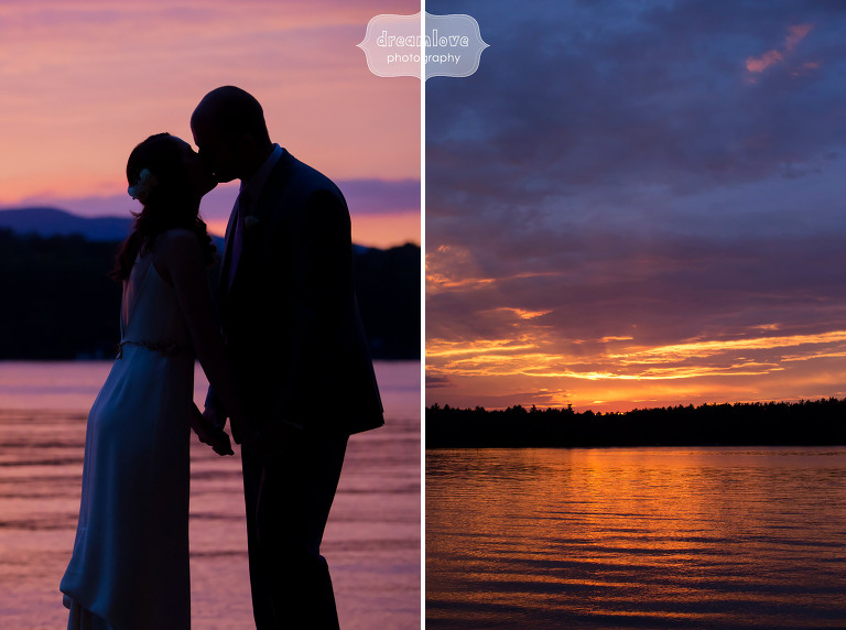 Photo of the bride and groom at sunset at the NH Camp wedding venue Woodbound Inn.