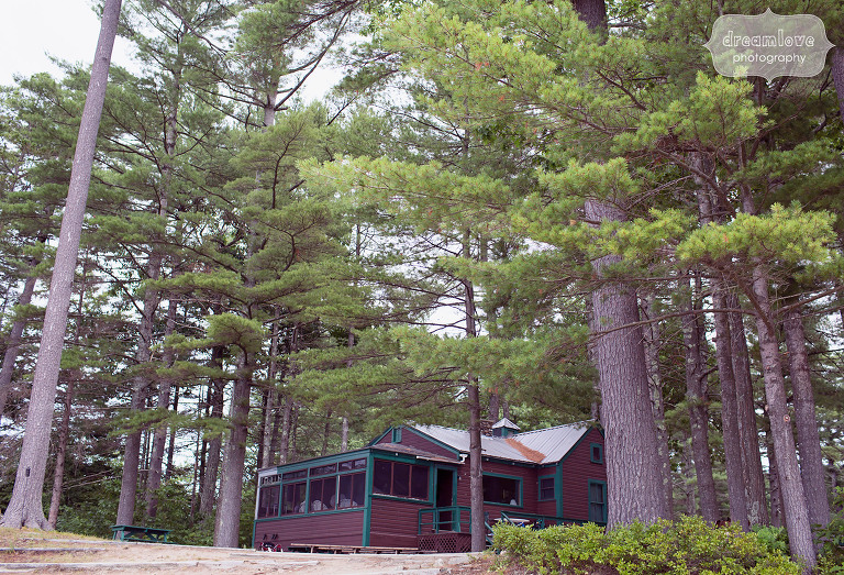 The rustic cabin where guys get ready for weddings at this NH camp wedding venue, the Woodbound Inn.