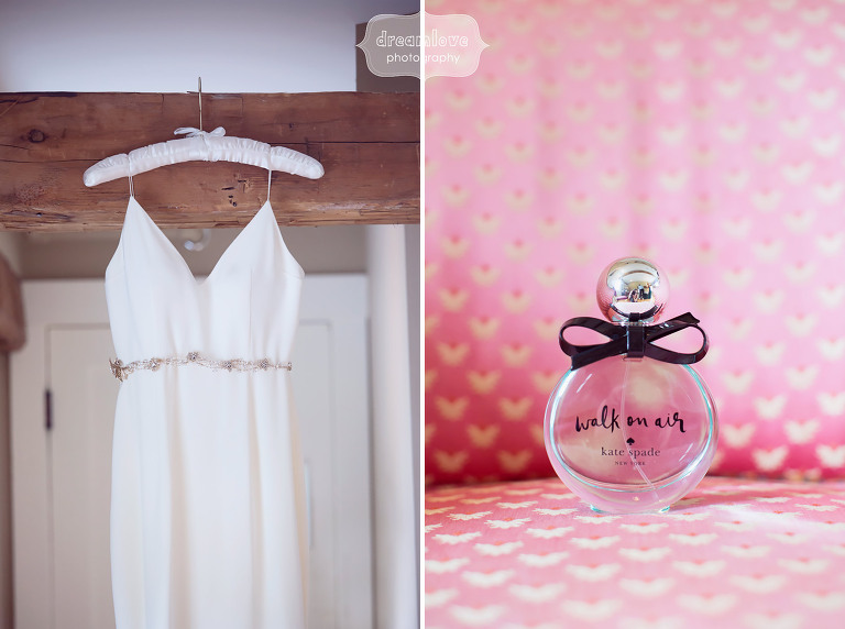 Rustic chic wedding photography of the dress hanging and Kate Spade perfume at the Woodbound Inn in NH.