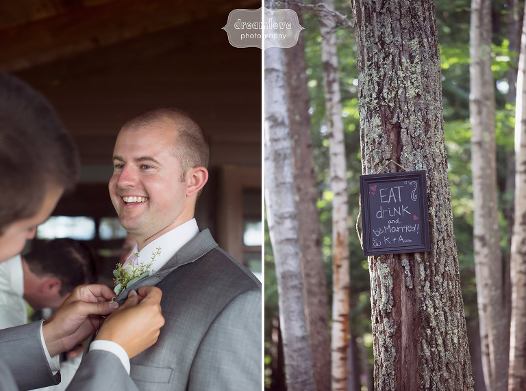Great idea for a rustic and woodsy wedding chalkboard sign up in the trees at the Woodbound Inn in NH.