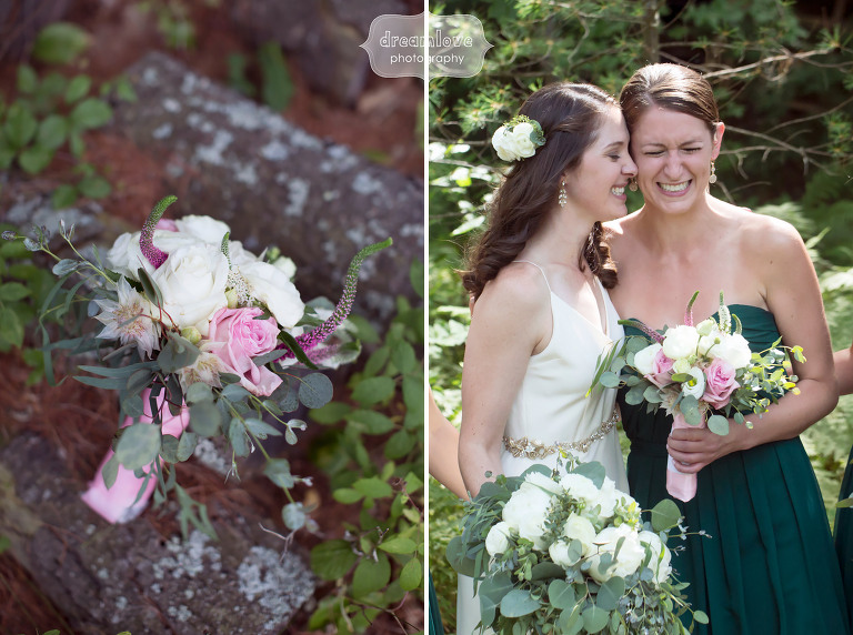 Documentary photo of the bride with her head on the maid of honor at this woodsy camp wedding at the Woodbound Inn, NH.