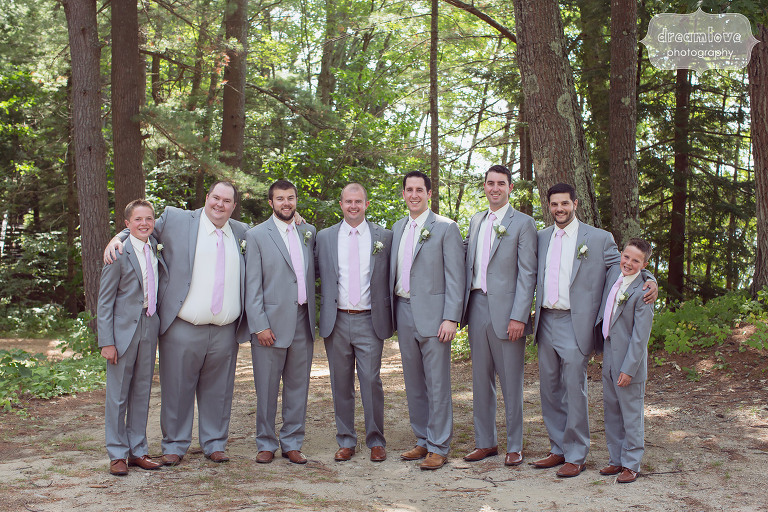 Groomsmen in grey suits and pink ties at the Woodbound Inn in NH.