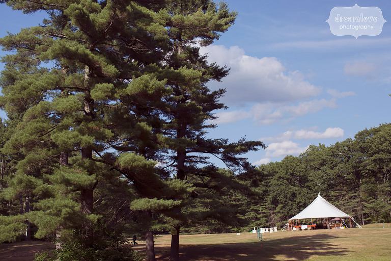 The reception tent is set up in the field at the Woodbound Inn in NH.