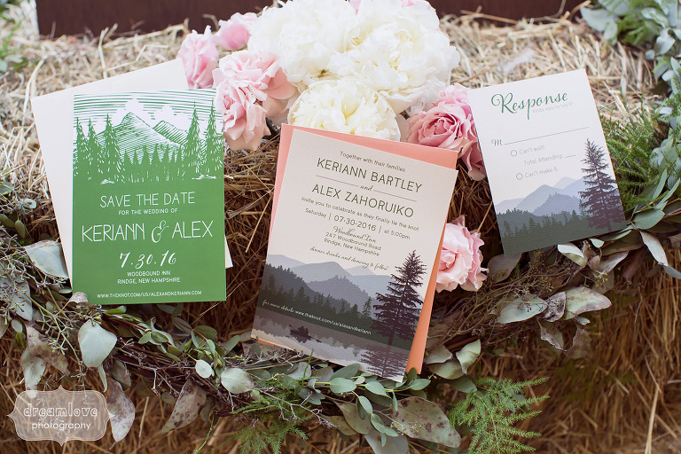 These rustic styled wedding invitations for this camp wedding at the Woodbound Inn in NH were perfect.
