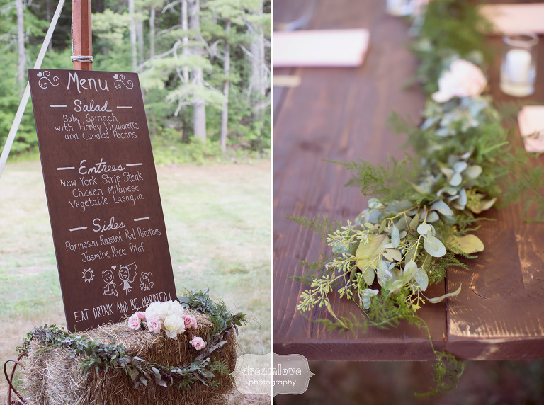 Great idea for a rustic wedding to set up a wood sign with white writing for the menu.