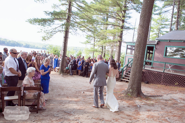 Outdoor ceremony space by the lake at the Woodbound Inn in NH.
