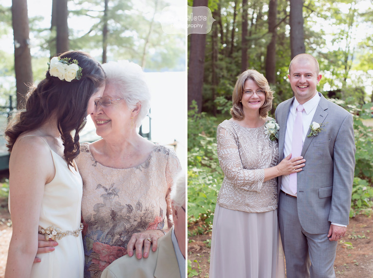 Best documentary photo of the bride and her grandmother at the rustic wedding at the Woodbound Inn in NH.