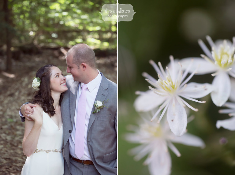 Rustic bride and groom portrait in the woods at the Woodbound Inn in NH for a nature wedding.
