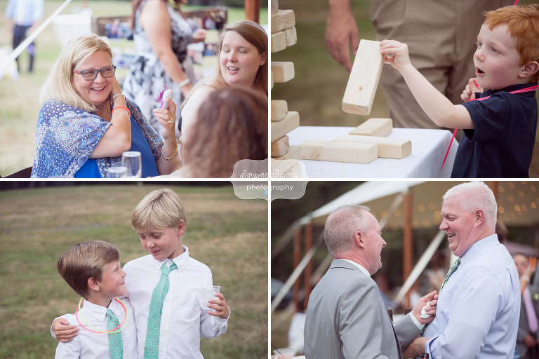 Candid photos of wedding guests laughing at the Woodbound Inn in NH.