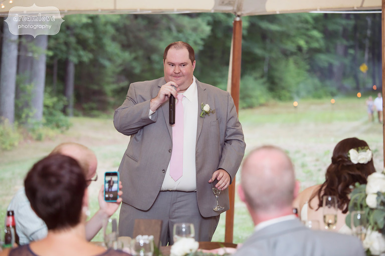 Best man speech at the wedding reception at the Woodbound Inn in NH.
