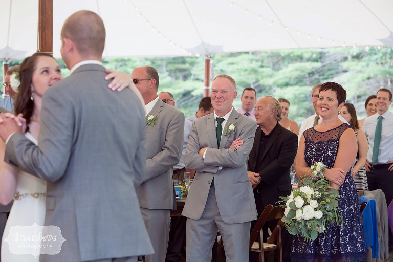 Bride and groom have first dance at the Woodbound Inn in Rindge, NH.