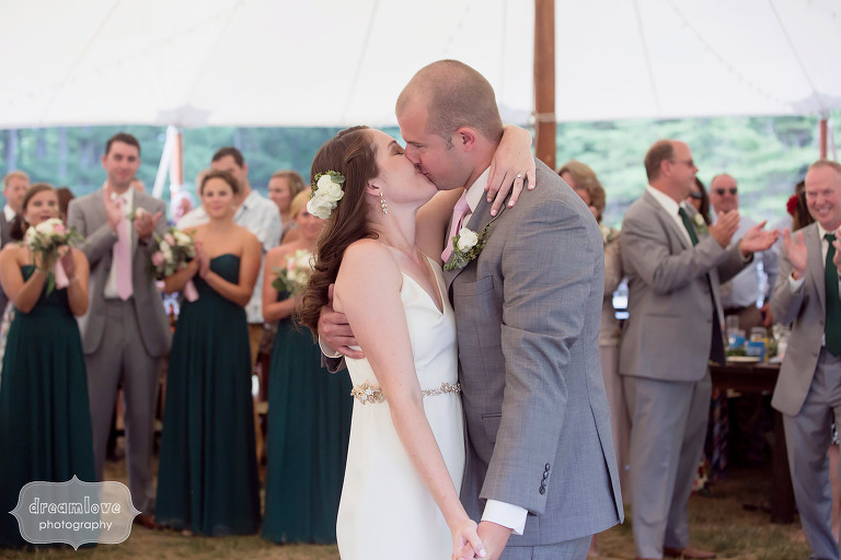 Candid wedding photo of the first dance at the Woodbound Inn in NH.